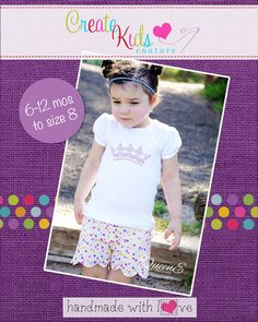 Create Kids Couture - Madeline's Reversible Scalloped Shorties PDF Pattern, $6.00 (http://createkidscouture.com/madelines-girls.html)