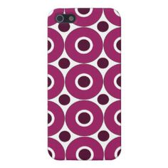 Bold Purple Polka Dots Concentric Circles Pattern iPhone 5 Cases