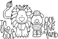 March Lion And Lamb Printable To Color Or Glue Cotton Balls