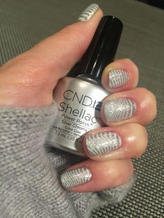 Shellac Silver Chrome with Lecente glitter and white stamping using Yours Loves Sascha plates 25/11/15 Christmas nails mark 1 ❤️