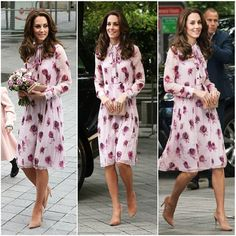 The Royal Trio are in London for world mental health day, The Duchess is wearing a rose printed dress by Kate Spade. #TheDuchessOfCambridge #KateMiddleton
