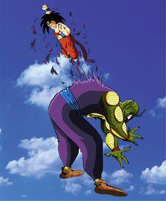 Goku vs Evil King Piccolo. Bam! Right in the chest