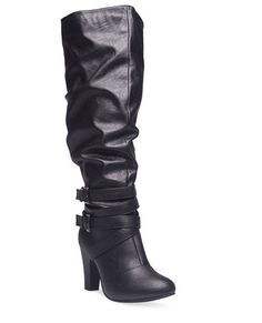 """<p>Take your fall footwear to new heights with these knee-high boots! They feature a double buckle wrap around ankle strap, stylized stitching, a faux leather body, and a wide width. Boots also have a half zip closure on the inner shaft and instep, an elastic inset, a padded shaft lining and footbed, and texture on the sole and heel for grip.</p>    <ul>  <li>Shaft: 17"""" / Heel: 3.5""""</li>  <li>Man Made Materials</li>  <li>Imported</li>  </ul>"""