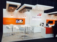 BHP Billiton custom booth #orange #white #lighting