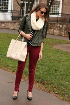 For fall: my leather jacket, black skinny jeans, maroon infinity scarf, black flats, colored/printed shirt, sunglasses