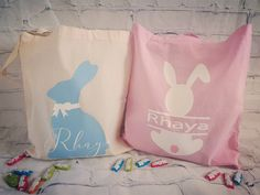 Personalised tote bags, choice of 3 colours pink, neautral and blue! Choice your colour bunny pink, blue & white! Select design and message your colour bunny & name choice Bunny Names, Name Place Cards, Personalized Tote Bags, Wedding Name, Handmade Items, Handmade Gifts, My Etsy Shop, Blue And White, Easter