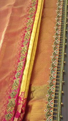 Simple pattu and silk saree kuchu design - Indian Fashion Ideas Saree Tassels Designs, Saree Kuchu Designs, Saree Blouse Neck Designs, Bridal Blouse Designs, Hand Embroidery Videos, Bead Embroidery Patterns, Aari Embroidery, Kids Party Wear Dresses, Kids Dress Patterns