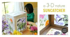 What a wonderful way to explore art & nature and the kids will love turning a plain cardboard box into a magical suncatcher!