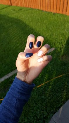 Navy blue and pink nails