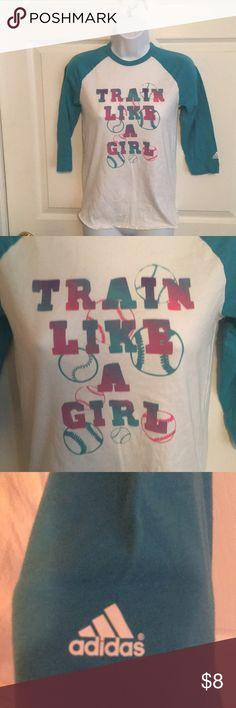Adidas Girls Softball 3/4 Sleeve Tee Sz L Maybe worn once Great shape Train like a girl adidas Shirts & Tops Tees - Long Sleeve