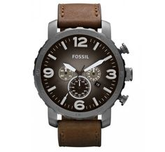 Fossil Watch, Men's Chronograph Nate Brown Leather Strap - For Him - Jewelry Watches - Macy's Fossil Watches For Men, Cool Watches, Men's Watches, Dress Watches, Fossil Nate Chronograph, Herren Chronograph, Titanium Watches, Brown Leather Strap Watch, Casual Watches