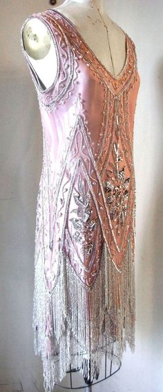 Pink and Silver Charleston beaded Flapper Dress  Sideways    this is NOT  vintage I wore it to a party last year in black with silver beading    b6c3de6473