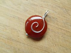 Red Carnelian Agate Coin Bead Pendant Charm Wire by OurBackYard, $8.00