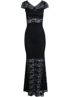 Black Short Sleeve Lace Long Dress