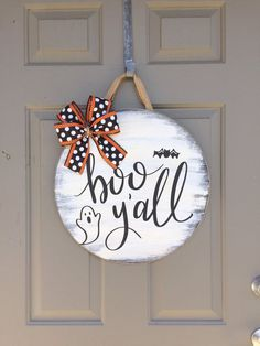 Your place to buy and sell all things handmade Boo Y'all Door Hanger, Halloween Door Hanger, Halloween Door Decor, Halloween Wreath, Halloween Sign Spooky Halloween, Halloween Signs, Halloween Crafts, Happy Halloween, Diy Halloween Door Decorations, Halloween Door Hangers, Fall Door Hangers, Outdoor Decorations, Halloween Front Doors