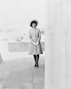 First Lady Jacqueline Kennedy stands at Vijay Chowk, following her arrival in New Delhi, India ~ March 12th, 1962