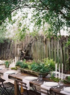 delicate ferns + fauna centerpieces with wood tables + chairs via @Jena McClendon Kittie Wed