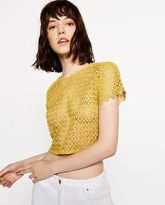 Image 2 of GUIPURE LACE CROP TOP from Zara