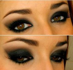 Dark eye make up. not gonna lie dark eye make up is my fave. Kiss Makeup, Love Makeup, Makeup Tips, Makeup Looks, Hair Makeup, Makeup Ideas, Makeup Eyeshadow, Dark Eyeshadow, Black Makeup
