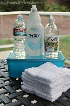 DIY Swiffer Wet Mopping Refills Viva Paper Towels OR Wash Cloths 3 cups water 2 cups vinegar 1-2 t Dawn