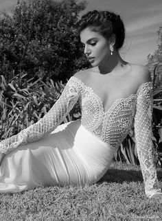 elihav sasson wedding dress 2015 lace long sleeves ultra low cut back sheath bridal gown with tulle train zoom
