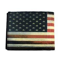 Men's Bi-fold Genuine Black Leather Wallet with American Flag Outside