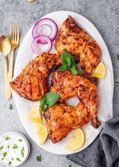 How to Grill Chicken on Stove-Top (Easy Grill Pan Method)   Gimme Delicious Grilled Tandoori Chicken, Roasted Chicken, Baked Chicken, Chicken Recipes, Spicy Shrimp, Butter Shrimp, Garlic Shrimp, Butter Chicken, Cilantro Sauce