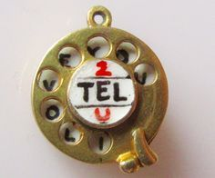 1962 - 9ct Gold I LOVE YOU Enamel Telephone Dial Pendant or Charm Moves hallmarked MF London, Year 1962.