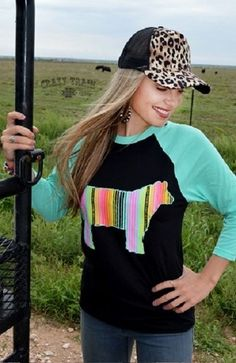 New Crazy Train Serape Steer Turquoise Cowgirl Baseball Shirt Small to 3XL…