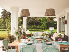 House of Turquoise Outdoor Rooms, Outdoor Dining, Outdoor Furniture Sets, Outdoor Decor, Porch And Terrace, Porch Garden, House Of Turquoise, House With Porch, Exterior Remodel