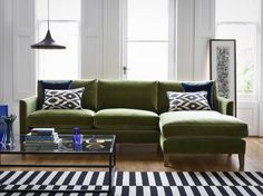 the Izzy medium right hand chaise in Olive pure cotton matt velvet, £2,360