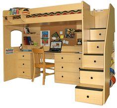 Twin Loft Bed Set with Desk Station, Cork, Shelves and Chair | Furnikidz.com | Best Children Furniture Design