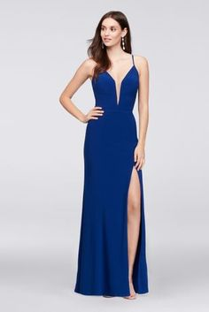 Lace-Up Back Plunging Stretch Jersey Sheath Gown 59302D