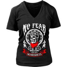 Motorcycle - 'No Fear' Women's V-Neck Cave, Motorcycle, V Neck, Tees, Mens Tops, T Shirt, Fashion, Supreme T Shirt, Moda