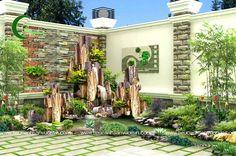 Garden Waterfall, Waterfall Fountain, Yard Design, Fence Design, Art Deco Door, Corner Garden, Water Walls, Garden Fountains, Water Garden