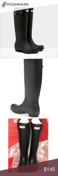 NWT Hunter orig tall black matte Hunter boots, 8 NWT/NWB.  Will ship with original box and contents.  100% authentic.  OFFERS & QUESTIONS WELCOME!  Thank you!:) Hunter Shoes Winter & Rain Boots