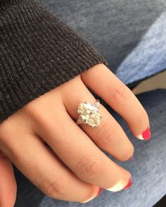 Dream Ring material here! This 3.12 ct Moval cut diamond is über gorgeous and loaded with sparkle! The Evelyn ring from Victor Barbone Jewelry also has a very low profile with makes it even easier to wear!