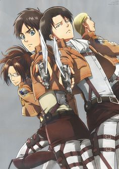 Nice anime artbook from Shingeki no Kyojin uploaded by Arabella - Levi Ackerman, Eren Yeager, Hange Zoe, and Erwin S Attack On Titan Fanart, Attack On Titan Levi, Ereri, Titan Manga, Manga Anime, Aot Anime, Snk Cosplay, Eren E Levi, Gekkan Shoujo