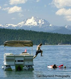Lake Almanor with active volcano in the back ground Mt. Lassen