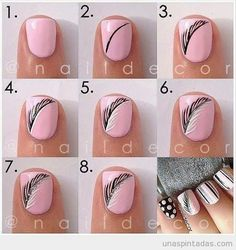 Gorgeous feather nails! |17 Amazing Spring Nail Tutorials|