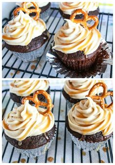 Chocolate Fudge Cupcakes with Salted Caramel Frosting ~Carrie loves these