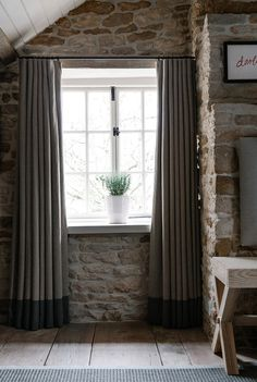 Simple and stylish curtains from Daylesford & The Wild Rabbit on Cereal Magazine Modern Rustic Decor, Country Retreat, Home, Curtains With Blinds, Home N Decor, Exposed Brick Walls, Cottage Windows, Cottage Curtains, Home Decor