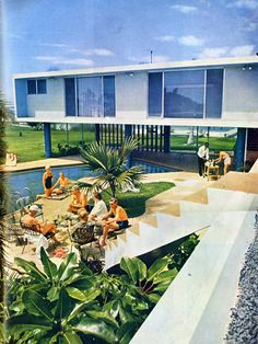 Mid-Century Modern House with Pool #Pool #House #Modern #Sleek #50s #1950s #Illustration #Outdoor #Blue #Stairs #Garden