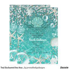 Teal Enchanted Sea Starfish & Bubbles Invitation