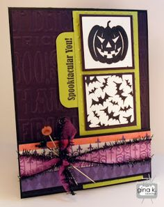 """Spooktacular You!"" card from the new Gina K Designs Spooktacular You! mini stamp set.   The Gina K Designs products I used on this card are:   The Gina K Designs products I used on this card are:  - Spooktacular You stamp set - Pure Luxury Black Onyx  card stock - Pure Luxury Prickly Pear card stock - Pure Luxury Edible Eggplant card stock"