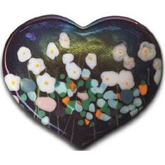 "Robert Held Art Glass - Paperweight, Flower Daisy Large Heart Carnelian - 3 X 2.5"" $62.50 #black and White #flowers"