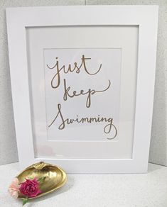 """Finding Nemo """"Swimming"""" Quote, Calligraphy, Dory, Funny Quote, Nursery Decor, Hand Lettering, Typography, Handmade, Gold Decor 8.5x11"""