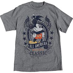 Disney Mickey Mouse All American Classic Charcoal Heather Mens T Shirt @ niftywarehouse.com #NiftyWarehouse #Disney #DisneyMovies #Animated #Film #DisneyFilms #DisneyCartoons #Kids #Cartoons