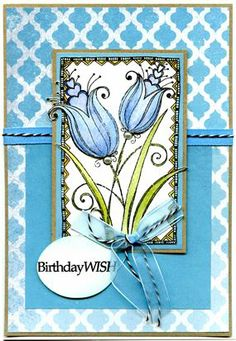 Woodware - Love Tulips, Watercolour paper, distress markers, Authentique papers. Distress Markers, Beautiful Handmade Cards, Digi Stamps, Flower Cards, Greeting Cards Handmade, Diy Cards, Watercolor Paper, Cardmaking, Birthday Cards
