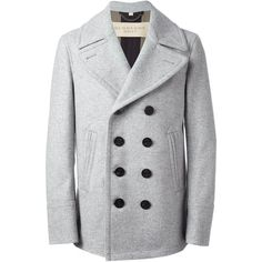 BURBERRY BRIT classic peacoat (€1.060) ❤ liked on Polyvore featuring mens, men's clothing, men's outerwear и men's coats